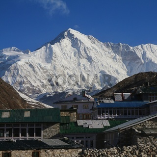Village Gokyo and majestic mountain Cho Oyu, Mount Everest National Park, Nepal.