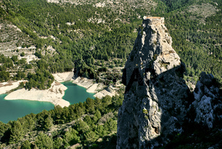 Rock of Alcala and Guadalest reservoir. Spain