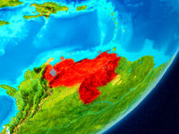 Orbit view of Venezuela in red
