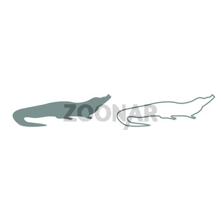 Crocodile grey set icon .