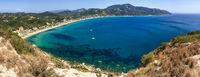 Die Bucht von Agios Georgios Pagon oder Pagi, Insel Korfu, Griechenland