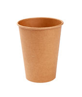 One brown paper parchment coffee cup isolated