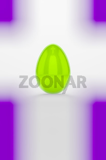 a green easter egg on white background