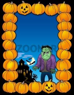 Halloween frame with Frankenstein - color illustration.