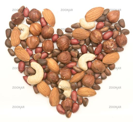 nut heart on white