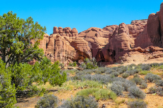 Arches National Park in summer rocks with blue sky