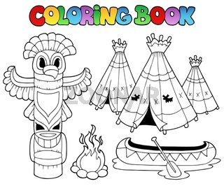 Coloring book with totem - thematic illustration.