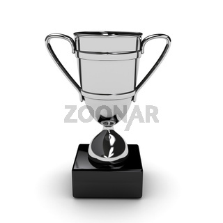 Awarding cup over white background