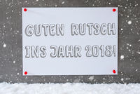Label, Cement Wall, Snowflakes, Guten Rutsch 2018 Means New Year