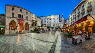 Panorama of Narodni Trg and Iron Gate of Deoclitian Palace in Split, Dalmatia, Croatia