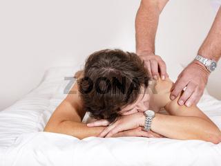 Woman is massaging
