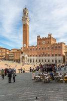 Tourist in the Piazza del Campo, at the Palazzo Pubblico in Siena, Italy