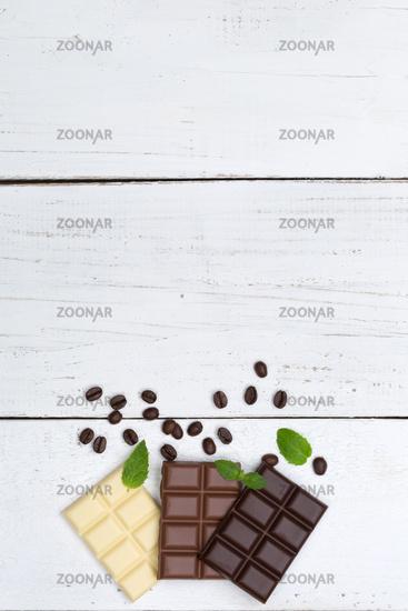 Schokolade Tafel Süßigkeiten Essen hochkant Textfreiraum von oben