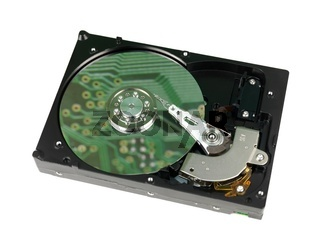 An internal computer hard drive isolated against a white background