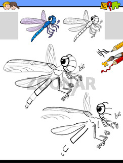 drawing and coloring activity with dragonfly