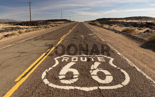 Rural Route 66 Two Lane Historic Highway Cracked Asphalt