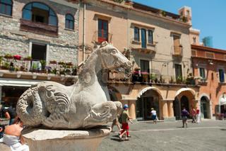 Statue in Piazza del Duomo in Taormina, Sicily, Italy