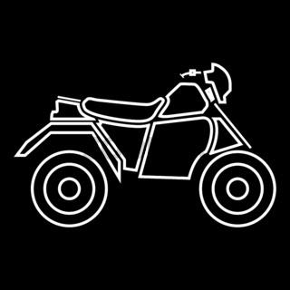 ATV motorcycle on four wheels it is white icon .