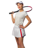 Young girl tennis player isolated