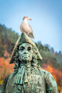 Seagull sitting on the statue of Baron Ludvig Holberg