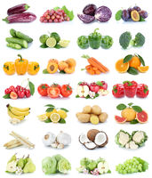 Obst und Gemüse Früchte Apfel Tomaten Bananen Orangen Zitrone Weintrauben Farben Collage Freisteller freigestellt isoliert