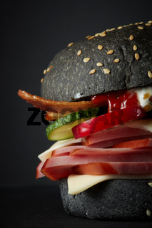 Gourmet black burger with Spicy sauce