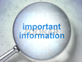 Information concept: Important Information with optical glass