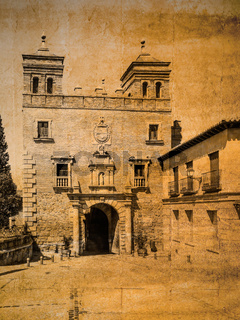 Postkarte im vintage look mit Stadttor Puerta del Cambron, Toledo, Spanien
