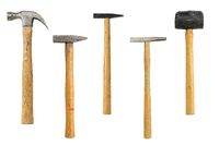 collection of different old hammers, isolated on white