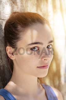 outdoor portrait of a beautiful teenage girl