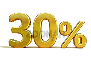 3d Gold 30 Thirty Percent Discount Sign