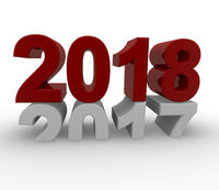 New Year 2018 concept 3d image