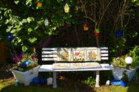 Garden bench with patchwork