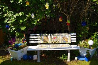 Garden bench with patchwork
