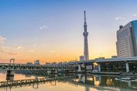 Tokyo sunrise city skyline at Sumida River, Tokyo, Japan