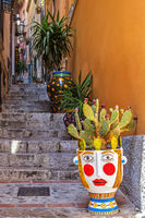 Plant Pots On The Streps In The Village Of Taormina Italy