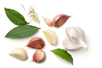 Garlic, Bay Leaves and Dried Rosemary Isolated on White Background