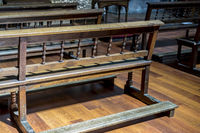 benches to pray inside a church. concept of faith and religion