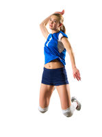 Young woman volleyball player isolated (version without ball)