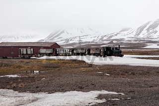 Old train and hut in Ny Alesund, Svalbard islands