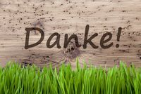 Bright Wooden Background, Gras, Danke Means Thank You