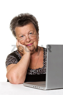 old woman with modern laptop