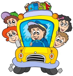 School bus with children - isolated illustration.