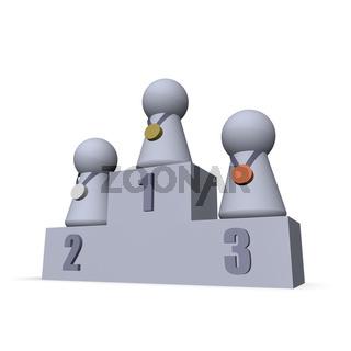 spielfiguren auf siegerpodest - 3d illustration