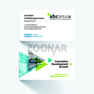 Vector business card template with flying triangles, arrows, pol