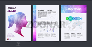 Brochure design, flyer, cover, booklet and report layout template with female and male silhouette polygonal background. Vector illustration.