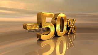 3d Gold -50%, Minus Fifty Percent Discount Sign