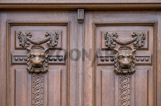 Sibiu traditional wooden door ornaments in the centre on the city