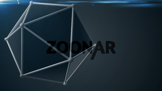 rendered atom. Abstract technology background