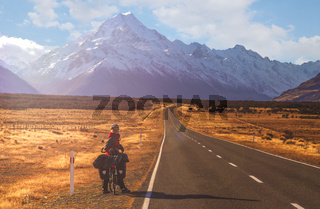 Cycling towards Mount Cook